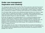 under new management inspiration and creativity