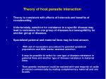 theory of host parasite interaction