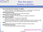 base line project summary of priorities