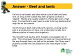 answer beef and lamb