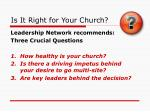 is it right for your church
