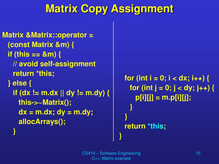 Matrix Copy Assignment