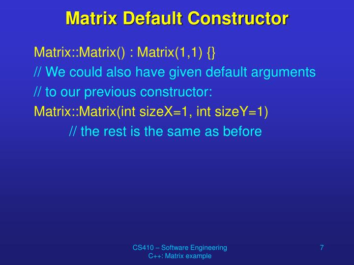 Matrix Default Constructor