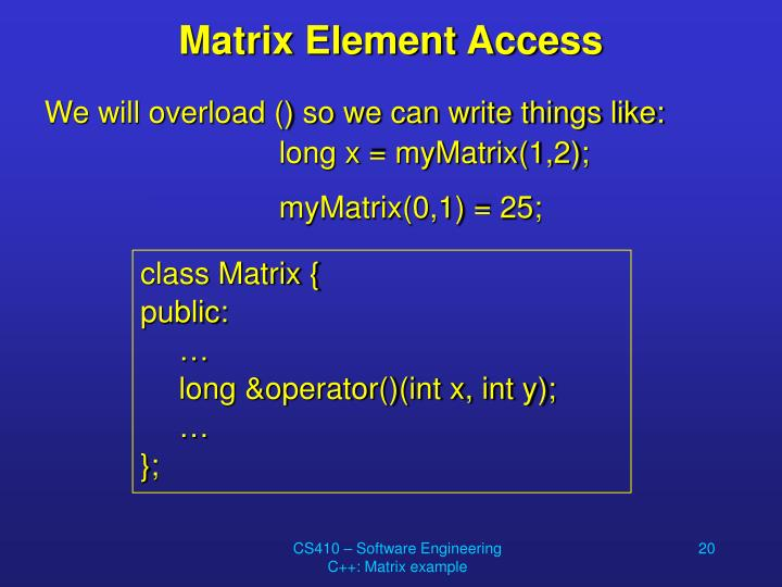 Matrix Element Access