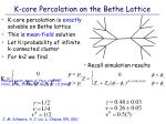 k core percolation on the bethe lattice