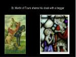 st martin of tours shares his cloak with a beggar
