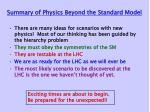 summary of physics beyond the standard model
