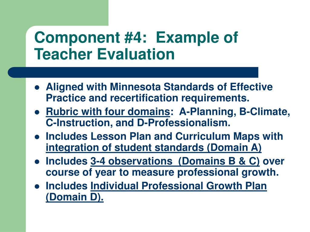Component #4:  Example of Teacher Evaluation