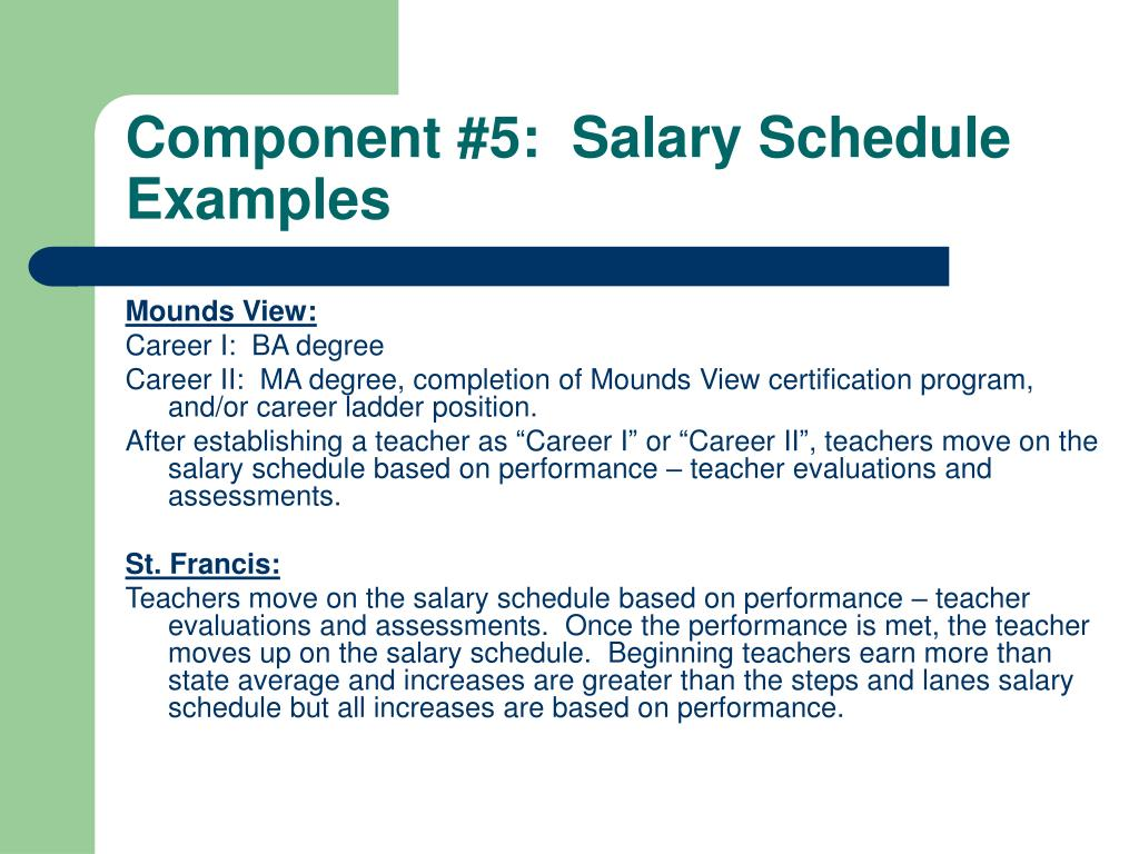 Component #5:  Salary Schedule Examples