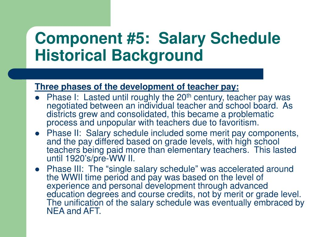 Component #5:  Salary Schedule Historical Background
