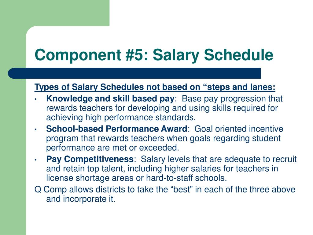 Component #5: Salary Schedule