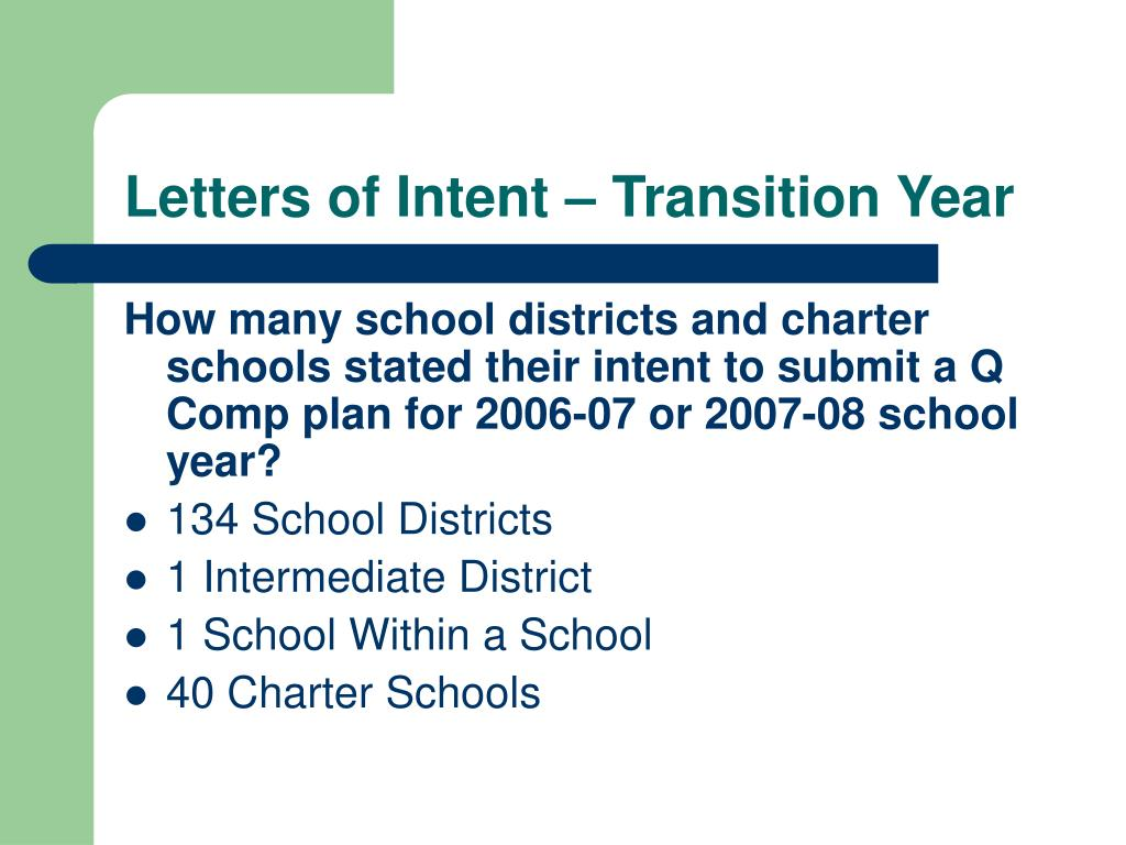 Letters of Intent – Transition Year