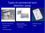 types of commercial toxin detection assay
