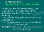vocabulary skill context clues unfamiliar words