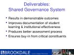 deliverables shared governance system