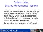 deliverables shared governance system48