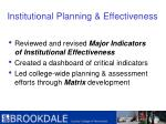 institutional planning effectiveness