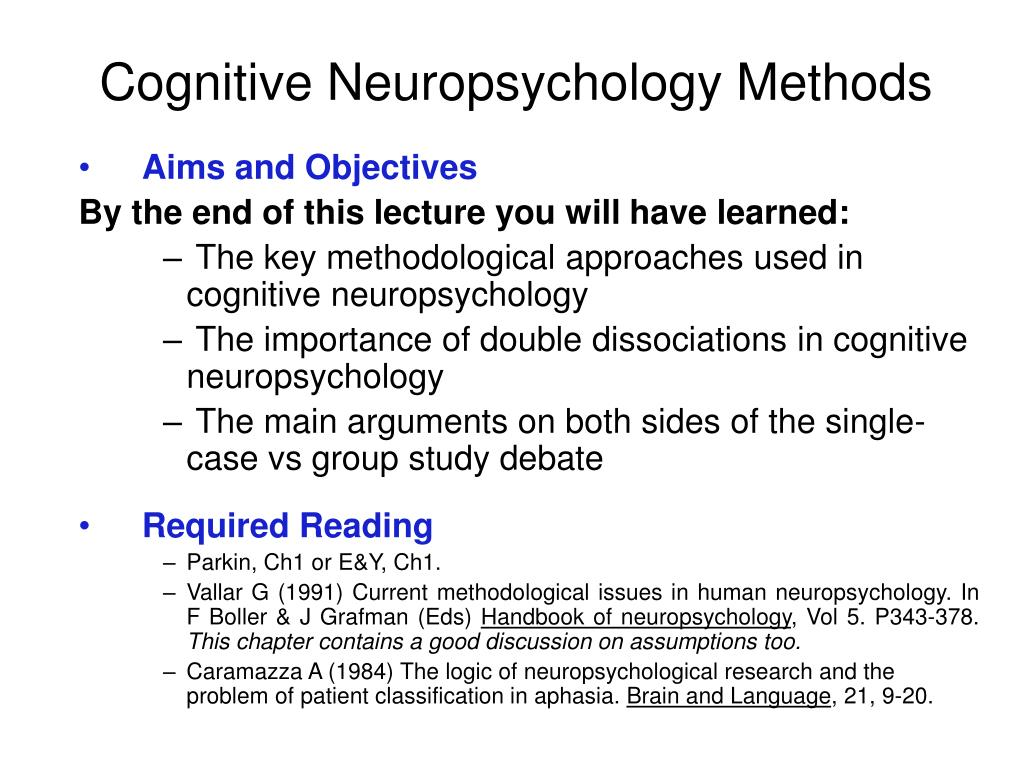 cognitive neuropsychology methods l.