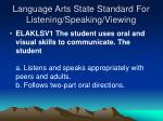language arts state standard for listening speaking viewing