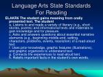 language arts state standards for reading