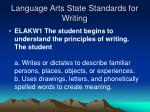 language arts state standards for writing