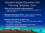 standard based education unit planning template cont10