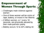 empowerment of women through sports