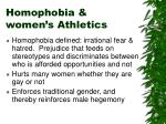 homophobia women s athletics