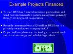 example projects financed