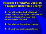reasons for usda s decision to support renewable energy