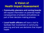 a vision of health impact assessment