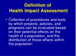 definition of health impact assessment