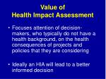 value of health impact assessment