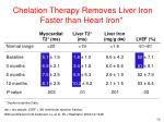 chelation therapy removes liver iron faster than heart iron