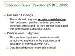 evidence based practice nrc 2009