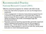 recommended practice national research council 2001