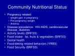 community nutritional status