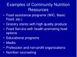 examples of community nutrition resources