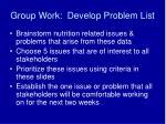 group work develop problem list