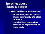 speeches about places people