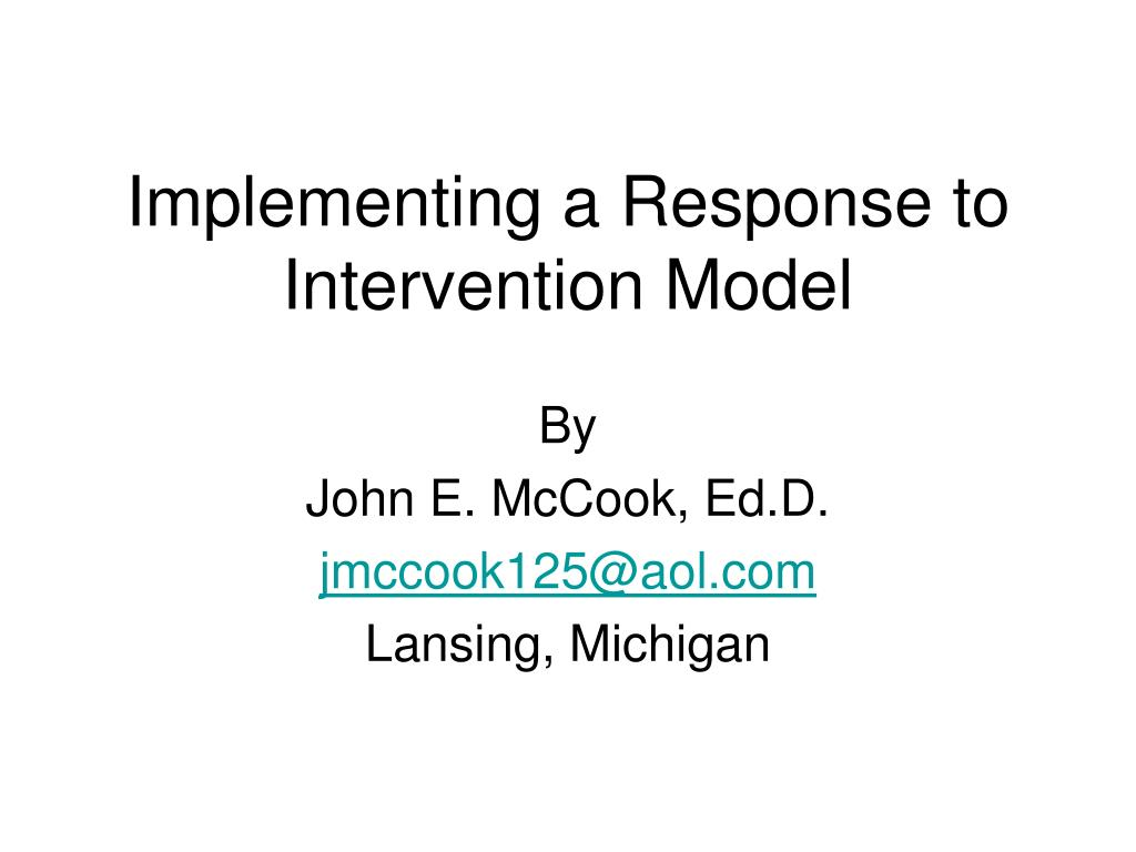 implementing a response to intervention model l.