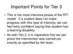 important points for tier 3