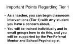 important points regarding tier 1