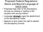 proposed federal regulations above and beyond language of ideia 2004