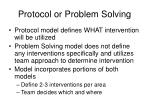 protocol or problem solving