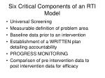 six critical components of an rti model