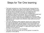 steps for tier one teaming