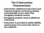 tier ii intervention characteristics