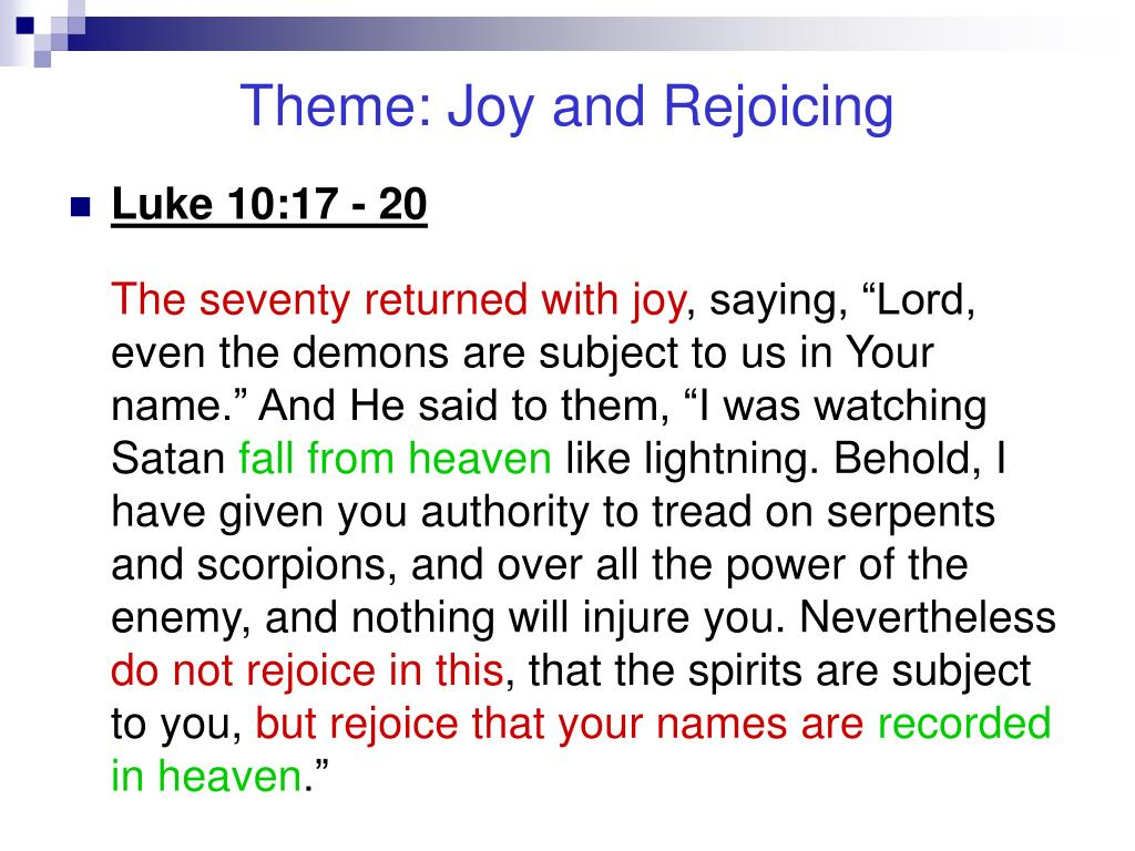 Theme: Joy and Rejoicing