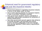 enhanced need for government regulatory role over the insurance industry